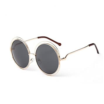 fe570c9078d Image Unavailable. Image not available for. Color  Huphoon Stylish Cool  Design Vintage Round Frame Gradient Color Lenses UV Sunglasses