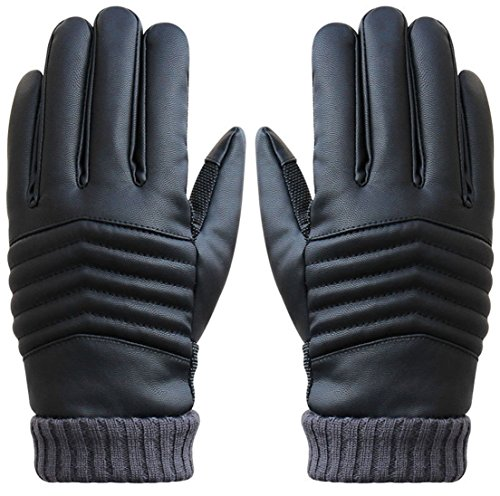1 Pc (1-Pair) Transcendental Popular Hot Men Thermal Warm Leather Glove Soft Feeling Wrist Driving Touch Screen Color Black (Safe Driving Tips For Halloween)