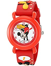 Boy's 'Mickey Mouse' Quartz Plastic Casual Watch, Color:Red (Model: WDS000391)