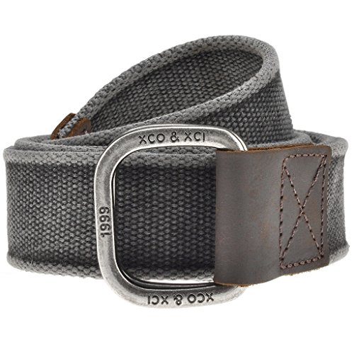Faleto Mens Canvas Belt Military Style Double D Ring Buckle Solid Color 53.5