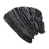 FarJing Men Womens Winter Knit Slouchy Beanie Baggy Warm Soft Chunky Stripe Hat Caps(Dark Gray