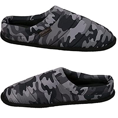 Dearfoams Men's Quilted Clog Slipper, black print, XL Regular US | Slippers