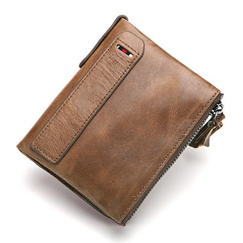 Wallets For Men RFID Blocking Bifold Genuine Leather Vintage with Double Zipper (Fashion Double Pockets)