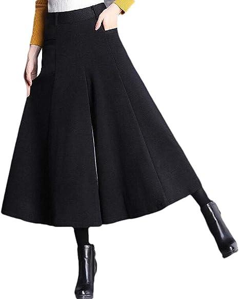 Womens Wool-Blend Fall-Winter Cropped-Pants Bell-Bottom Flare Pants Wide Leg Palazzo Pants
