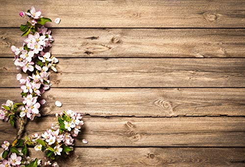 Baocicco 8x6.5ft Valentine's Day Backdrop Countryside Rustic Wood Plank Wood Holiday Invitation Celebration Blossoming Floral Flower Pink Green Leaf Background Children Baby Adults Portraits Backdrop