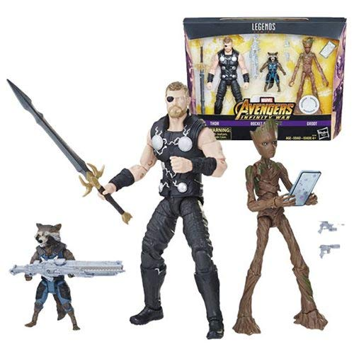 Entertainment Earth Marvel Legends Thor, Rocket, and Groot Action Figures