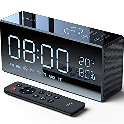 Bluetooth Speakers,SANAG X9 Portable Stereo With Alarm Clock Bluetooth Speaker 12W,AUX/TF/Touch/Remote Control,Built-in Mic,HiFi Bass Wireless Speaker for iPhone/Android/PC-Black【Red Dot Design Award】