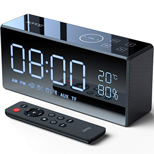 Bluetooth Speakers,SANAG X9 Portable Stereo With Alarm Clock Bluetooth Speaker 12W,AUX/TF/Touch/Remote Control,Built-in Mic,HiFi Bass Wireless Speaker for iPhone/Android/PC-Black【Red Dot Design Award】 (Alarm Clock With Bluetooth)