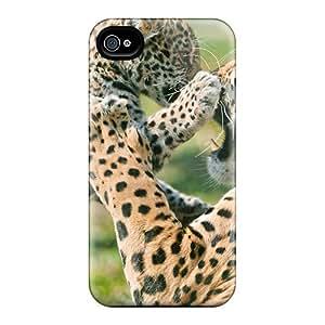 Unique Design Iphone 4/4s Durable Tpu Case Cover Jaguar Cub Fighting Mother