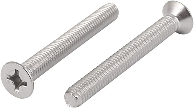uxcell M6x40mm 316 Stainless Steel Flat Head Phillips Machine Screws Silver Tone 8 Pcs