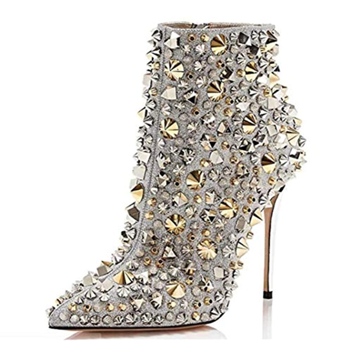 Shiney Stivaletti Da Donna A Punta Rivetto Street Shoot Modello Catwalk Boots Tacco Alto Stiletto Fashion Nightclub
