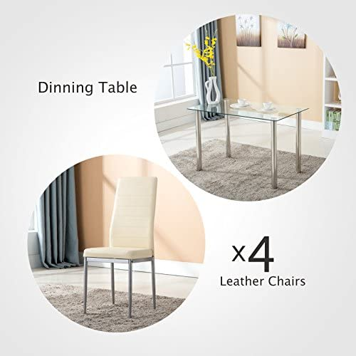 home, kitchen, furniture, kitchen, dining room furniture,  table, chair sets 8 discount Mecor 5 Piece Dining Table Set Tempered Glass in USA