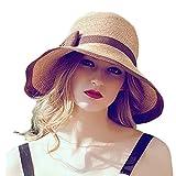 Search : Home Prefer Womens Straw Sun Hat UPF50+ Wide Brim Floppy Hat Summer Beach Cap