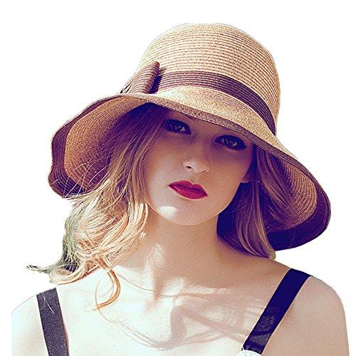 home prefer womens straw sun hat upf50 wide brim floppy