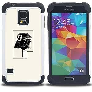 """SAMSUNG Galaxy S5 V / i9600 / SM-G900 - 3 en 1 impreso colorido de Altas Prestaciones PC Funda chaqueta Negro cubierta gel silicona suave (Policía del gorila"""")"""