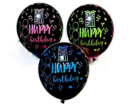 14 pieces Happy Birthday balloons NEON Assortment, latex 12 inches size party balloon