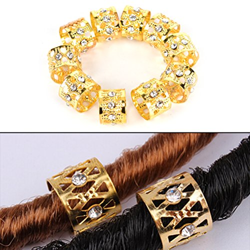 Ioffersuper 30 Pcs Rhinestone Braiding Hair Rings Dreadlock Marley Braids Beads Clips