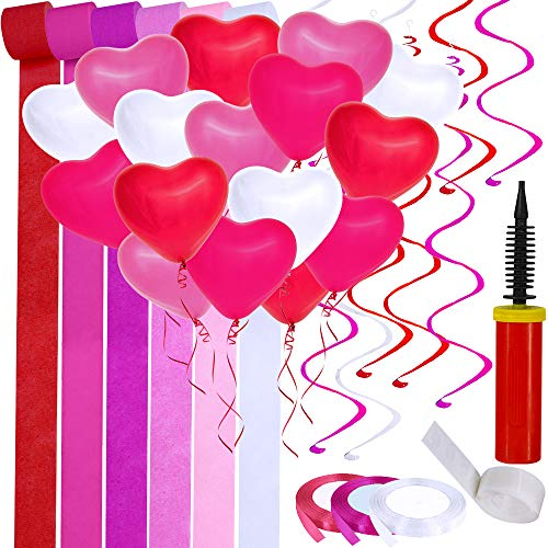 - Supla Valentine's Day Party Decoration Supplies Paper Streamers Backdrop Red Pink White Fuchsia Heart Shaped Balloons Latex Balloons Hanging Swirl Streamers Satin Fabric Ribbons Trim with Hand Inflator Pump Double-Sided Glue Dots