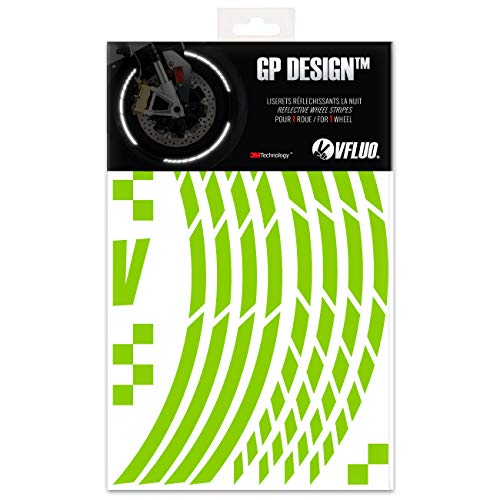 1 wheel 10 mm width Motorcycle retro reflective wheel stripes kit VFLUO CIRCULAR Kawazaki Green 3M Technology