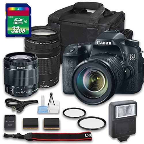 Canon EOS 70D DSLR Camera Bundle with Canon EF-S 1...