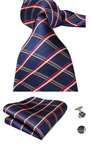 Hi-Tie Mens Plaid Checks Woven Silk Tie Necktie Set Wedding Tie (Blue red)