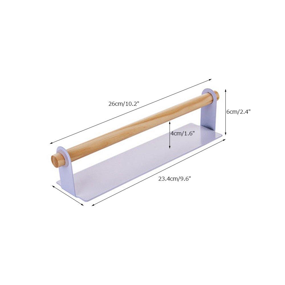 3pcs//Set Black Gabriera Juego de 3 toalleros de Cocina de Metal con Barra Desmontable y Percha de Madera autoadhesiva para Toallas de Papel y Toallas de pl/ástico Talla /única