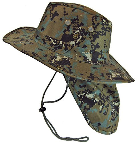 Military Camouflage Boonie Bush Safari Outdoor Fishing Hiking Hunting Boating Snap Brim Hat Sun Cap with Neck Flap by SW