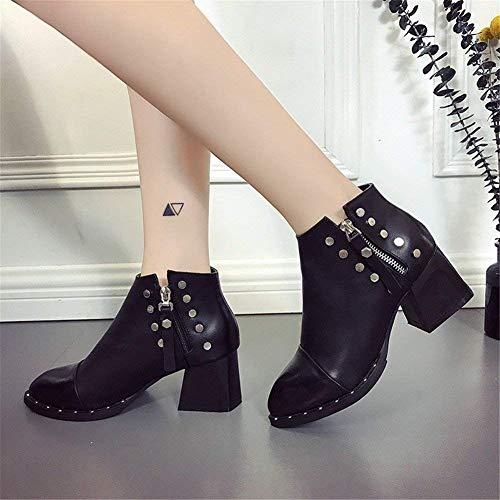 Sed 'bottes Coarse Mesdames Zipper Talon Pu Eu Chaussures Slip Ladies' Proof Rivets 37 wXqwx5rg