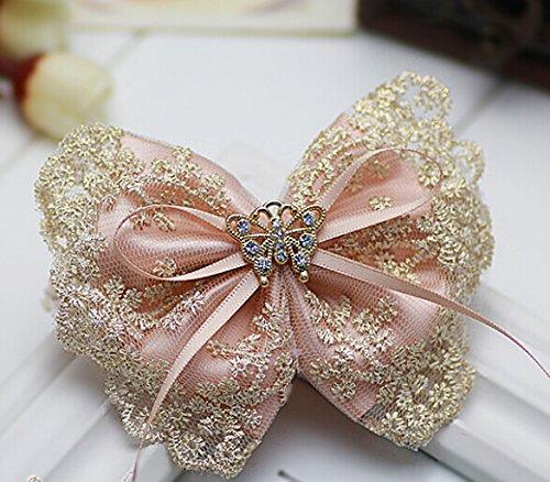 Cfalaicos Hair Accessories Korean Women Pink Bow Hair Clip L
