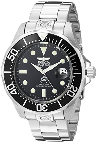 Invicta Men's 3044 Stainless Steel Grand Diver Automatic Watch, Silver/Black ()