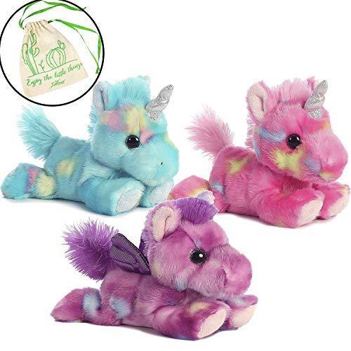 Aurora Bundle of 3 Stuffed Beanbag Plushies - Blueberry Ripple Unicorn, Jellyroll Unicorn, and Tutti Frutti Pegasus with Drawstring Bag
