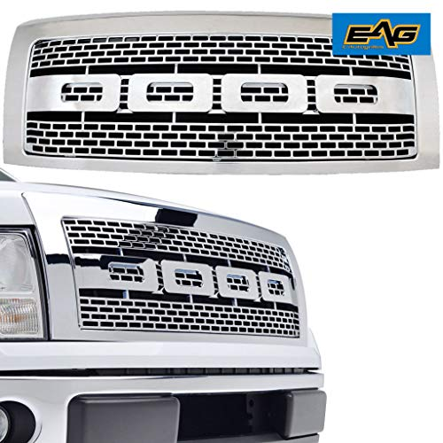 EAG Front Upper F150 Grille Replacement Chrome ABS Full Grill With Shell for 09-14 Ford -
