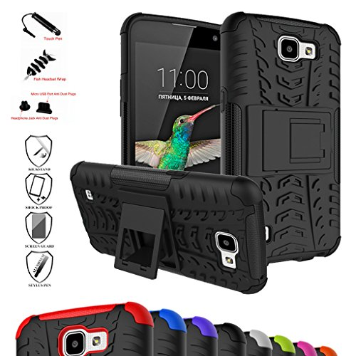 LG K4 Case,Optimus Zone 3 Case,Spree Case,Mama Mouth Shockproof Heavy Duty Combo Hybrid Rugged Dual Layer Cover with Kickstand For LG K4/Optimus Zone 3/LG Spree (With 4 in 1 Free Gift Packaged),Black