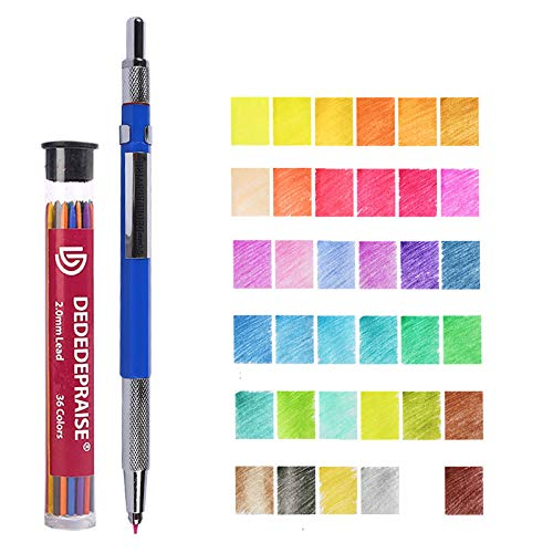 Color Pencil Lead ,36 Thick Refills Core Colored Automatic Drawing 2mm Assorted Refill Mechanical Pre-Sharpened with Container for Drafting