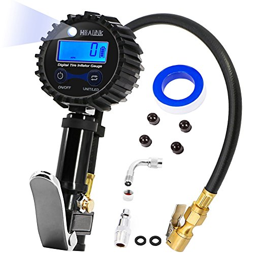 Tire Pressure Gauge, HEALiNK Tire Air Inflator Gun with Digital Pressure Gauge 200 Psi & Straight Lock-on Air Chuck for Auto Car Motorcycle Bicycle Trucks, Air Compressor Accessories