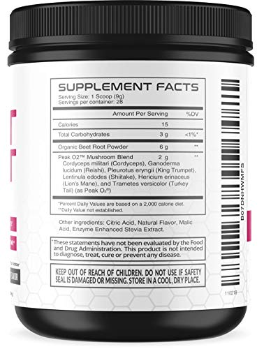 Beet Root Powder with Patented, Organic PeakO2 & Mushroom Blend - Supports Fast Workout Recovery & Promotes Athletic Endurance; No Sugar, Non-GMO by Havasu Nutrition (Image #2)