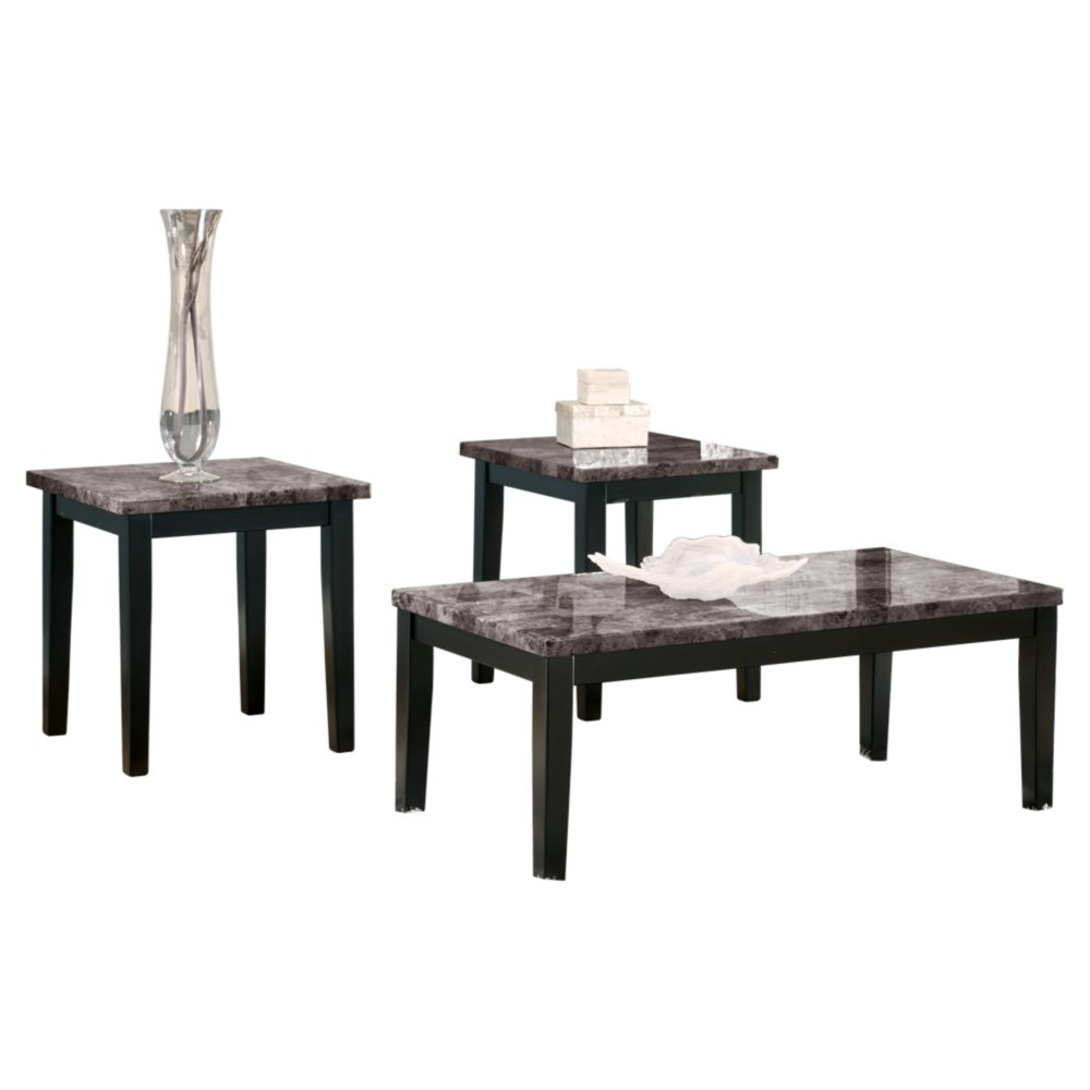 Ashley Furniture Signature Design - Maysville Faux Marble Top Occasional Table Set - Contains Cocktail Table & 2 End Tables - Contemporary - Black by Signature Design by Ashley