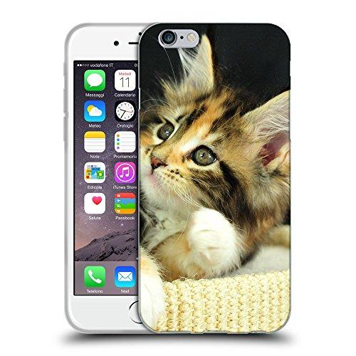 """Just Phone Cases Coque de Protection TPU Silicone Case pour // V00004292 Adorable chaton couché sur le dos // Apple iPhone 6 4.7"""""""