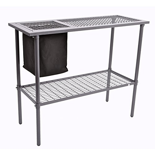 Garden Greenhouse Utility Potting Bench with Wire Mesh Top, Silver (Greenhouse Bench)