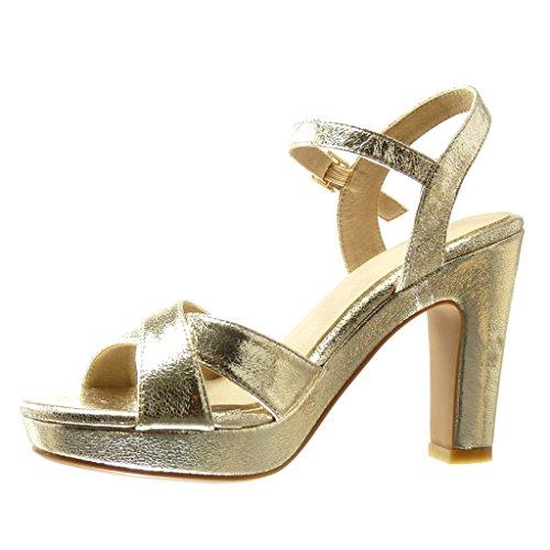 Angkorly - Zapatillas de Moda Sandalias Tacón escarpín zapatillas de plataforma sexy mujer tanga Hebilla Talón Tacón ancho alto 10.5 CM - Oro