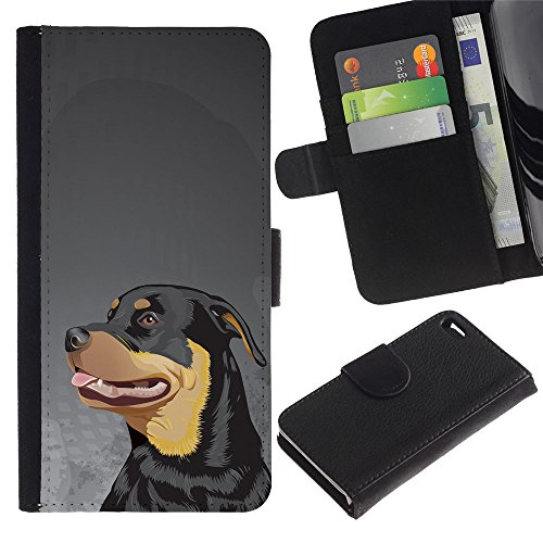 Be Good Phone Accessory // Flip Étui de Protection Cuir Portefeuille Housse Fente Carte Coque pour Apple Iphone 4 / 4S // Rottweiler Art Painting Dog Face Big
