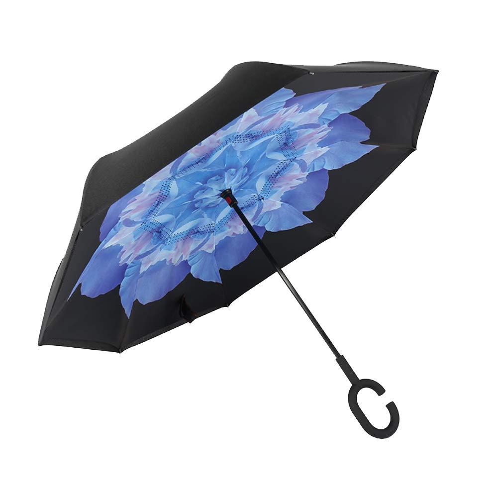 XdiseD9Xsmao Mango En Forma De C Paraguas Recto Inverso Duradero Port/átil Anti-UV A Prueba De Viento A Prueba De Lluvia Lluvia Sombrilla 11#