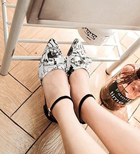 Showhow Womens Chic Strik Puntige Toe Enkelbandjes Pumps Zwart