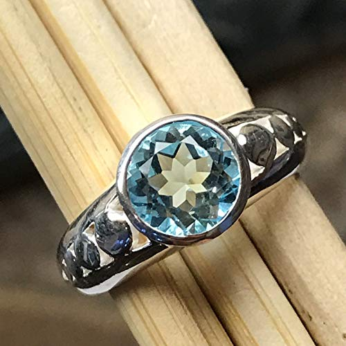 Genuine 1ct Swiss Blue Topaz 925 Solid Sterling Silver Filigree Engagement Ring 7, 8 (Engagement Topaz Ring Genuine)