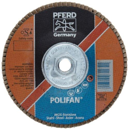 PFERD Polifan PSF Abrasive Flap Disc, Type 27, Threaded Hole, Phenolic Resin Backing, Zirconia Alumina, 6 Dia., 40 Grit (Pack of 1)