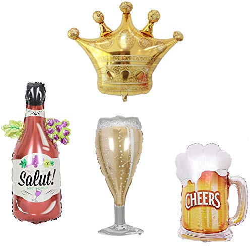 4 Pcs Assorted Wine Bottle Beer Mug Crown Champagne Cup Foil Balloons,Helium Balloons for Birthday Bridal Shower Bachelorette New Years Eve Festival Celebrations Party Supplies]()