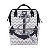 ALIREA Nautical Anchor Diaper Bag Backpack, Large Capacity Muti-Function Travel Backpack