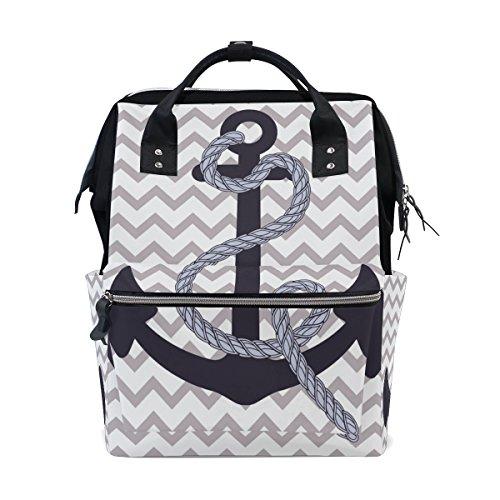 ALIREA Nautical Anchor Diaper Bag Backpack, Large Capacity Muti-Function Travel Backpack by ALIREA