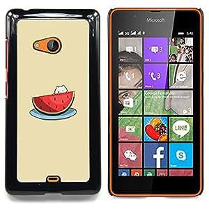 Cute Cat Beige Fruit Caja protectora de pl??stico duro Dise?¡Àado King Case For Microsoft Nokia Lumia 540 N540