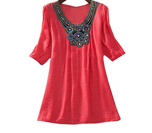 Grande Manches Longue Blouse t Col 4 Broderie T Ethnique rouge Lache Tops Shirts Mini Casual Freestyle Taille Mi Robes Rond Tunique Pastque Hauts Femme Chemises Shirt 3 8aBnnqR
